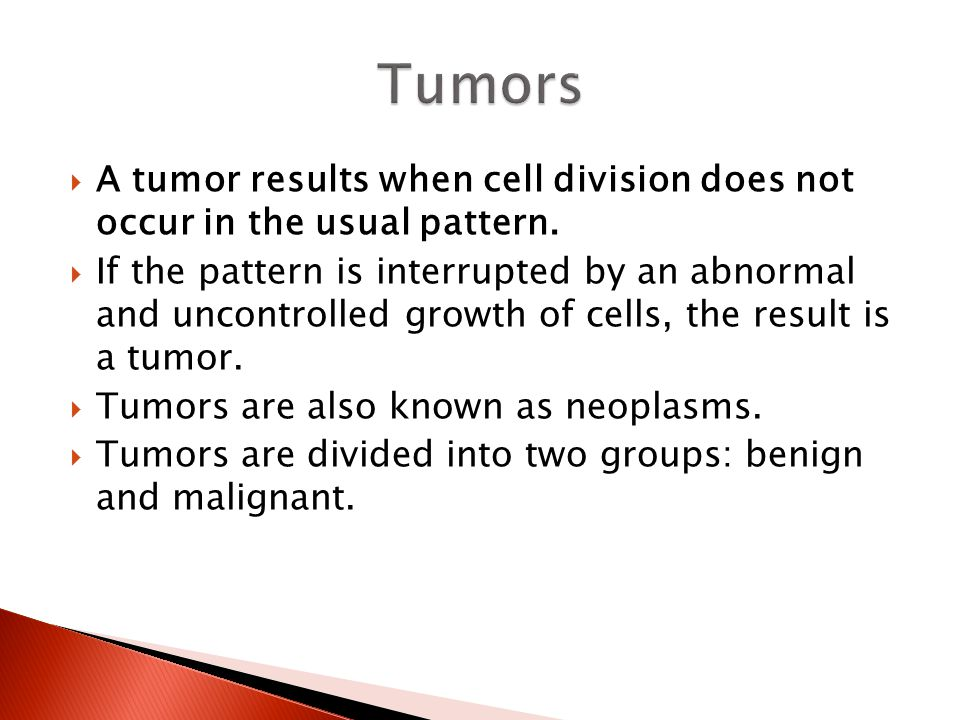 Tumors A tumor results when cell division does not occur in the usual pattern.