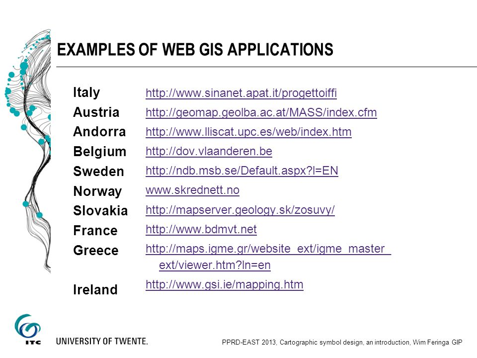 Examples of web GIS applications