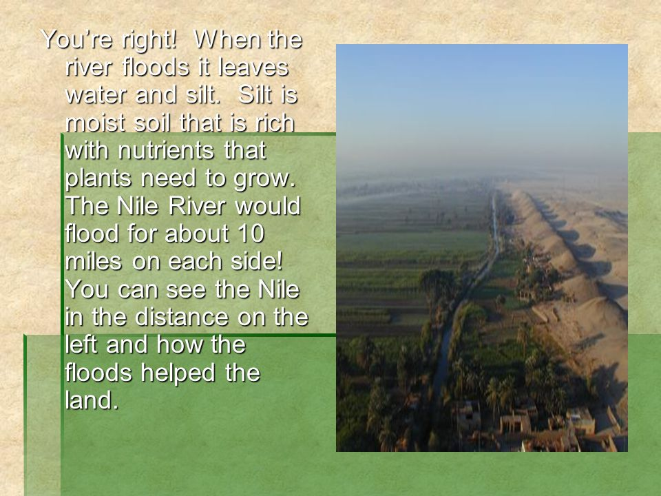 You're right. When the river floods it leaves water and silt