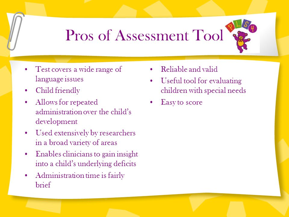 Pros of Assessment Tool