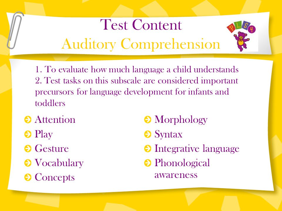 Test Content Auditory Comprehension