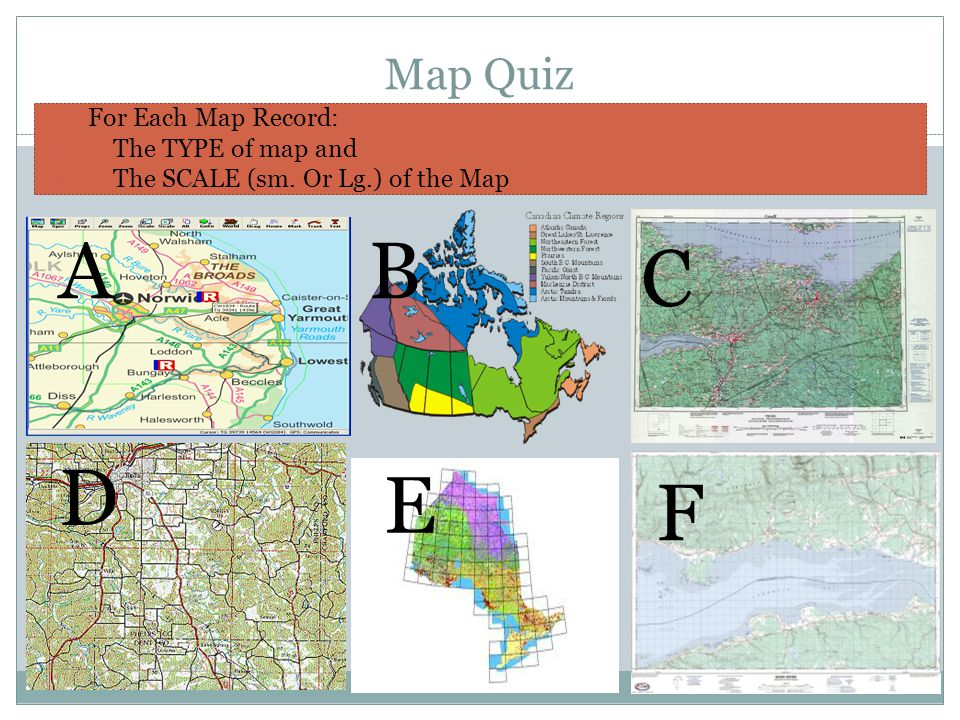 World map quiz type images diagram writing sample ideas and guide making maps guidelines ppt video online download a b c d e f map quiz for each map record the type sciox Choice Image
