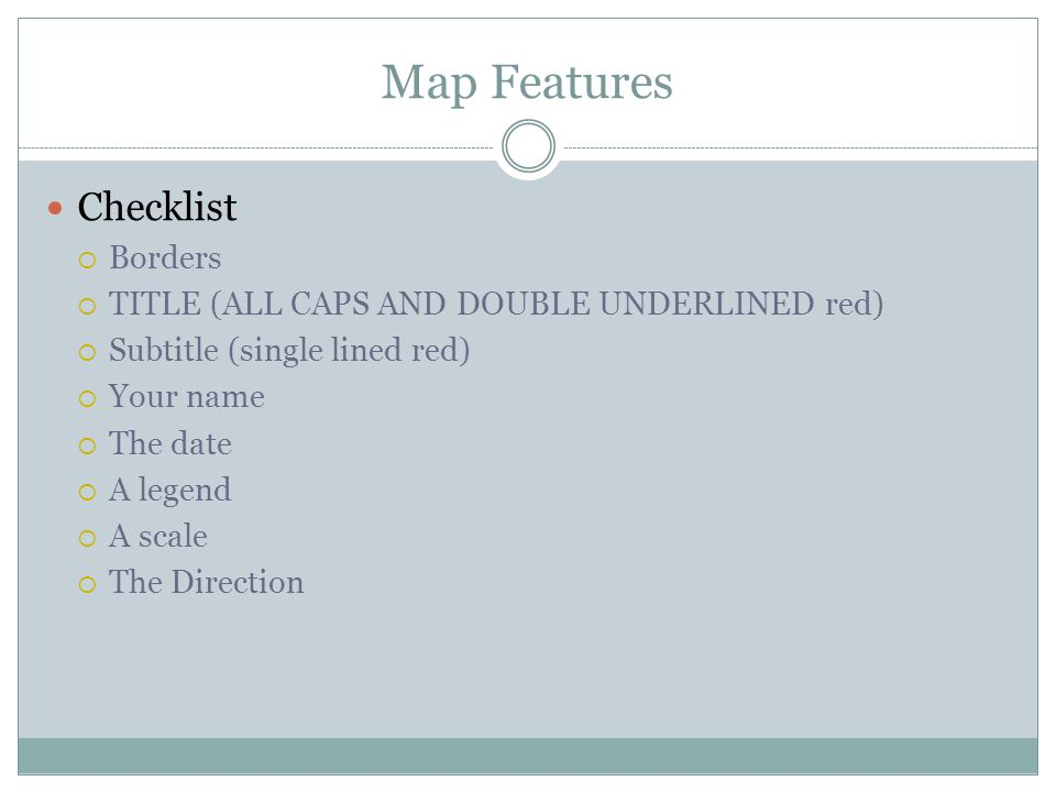 Map Features Checklist Borders