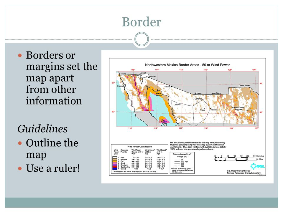 Border Borders or margins set the map apart from other information