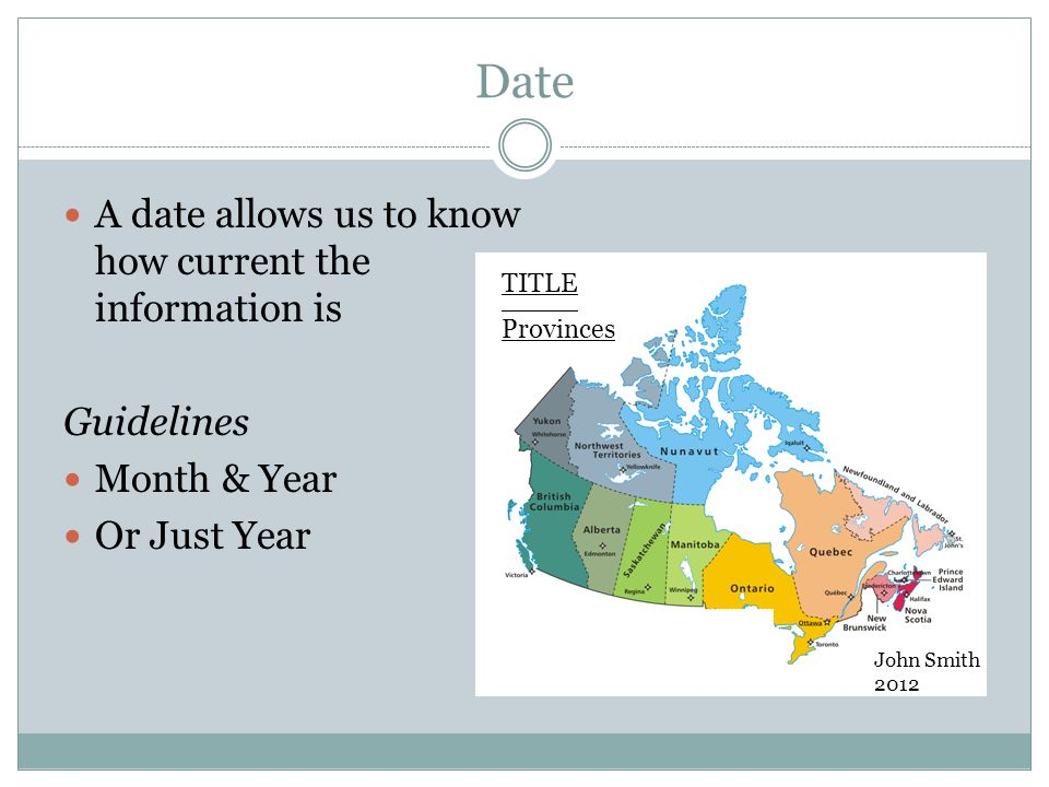 Date A date allows us to know how current the information is