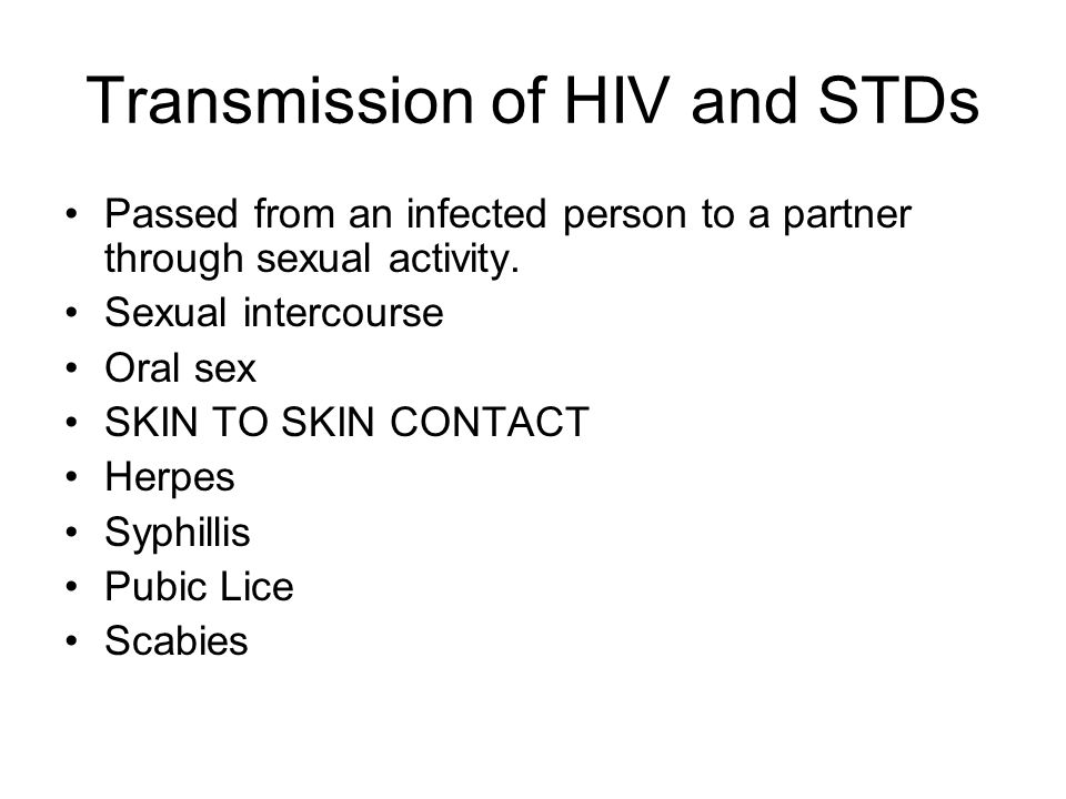 Transmission of HIV and STDs