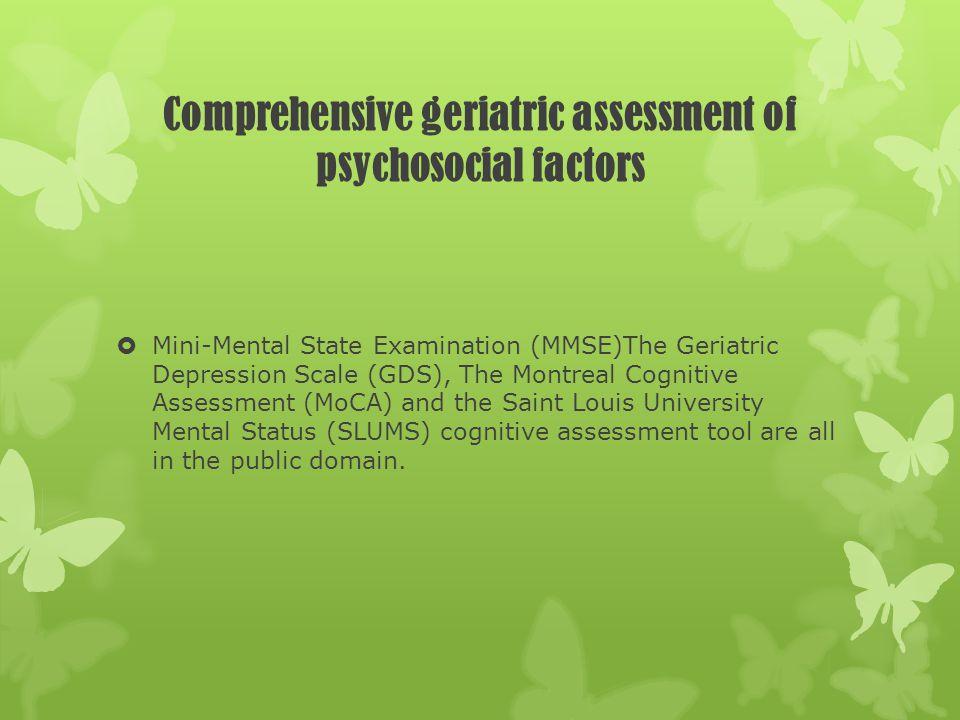 Comprehensive geriatric assessment of psychosocial factors