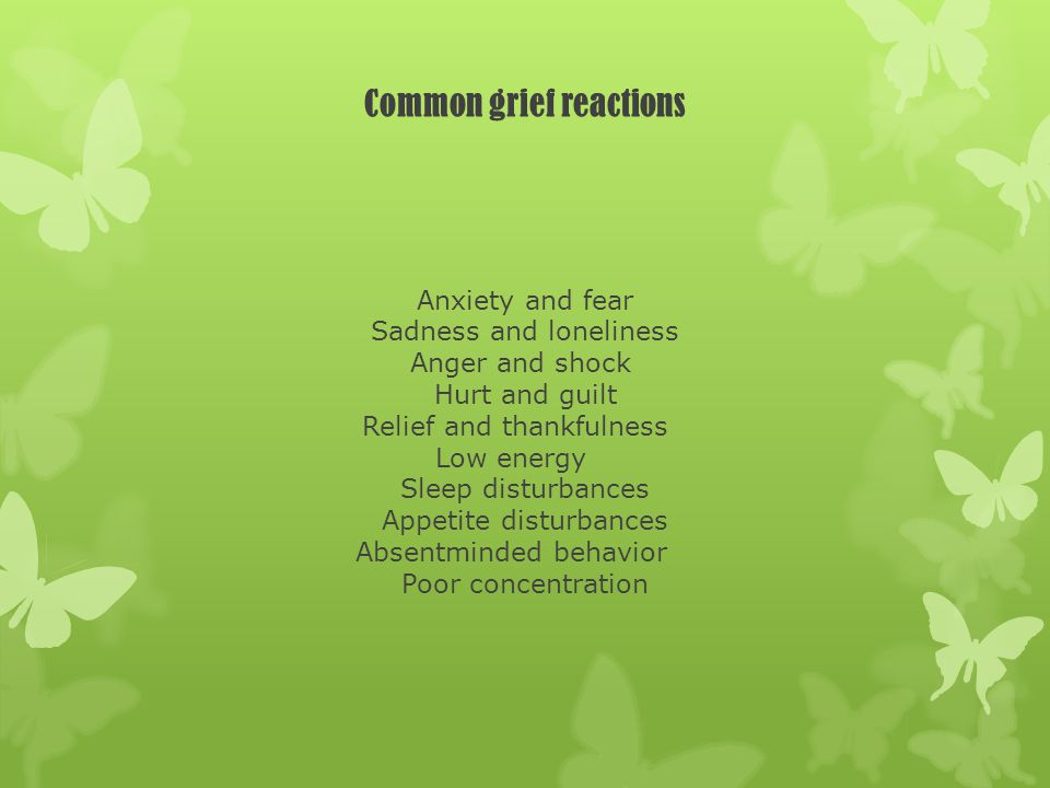 Common grief reactions