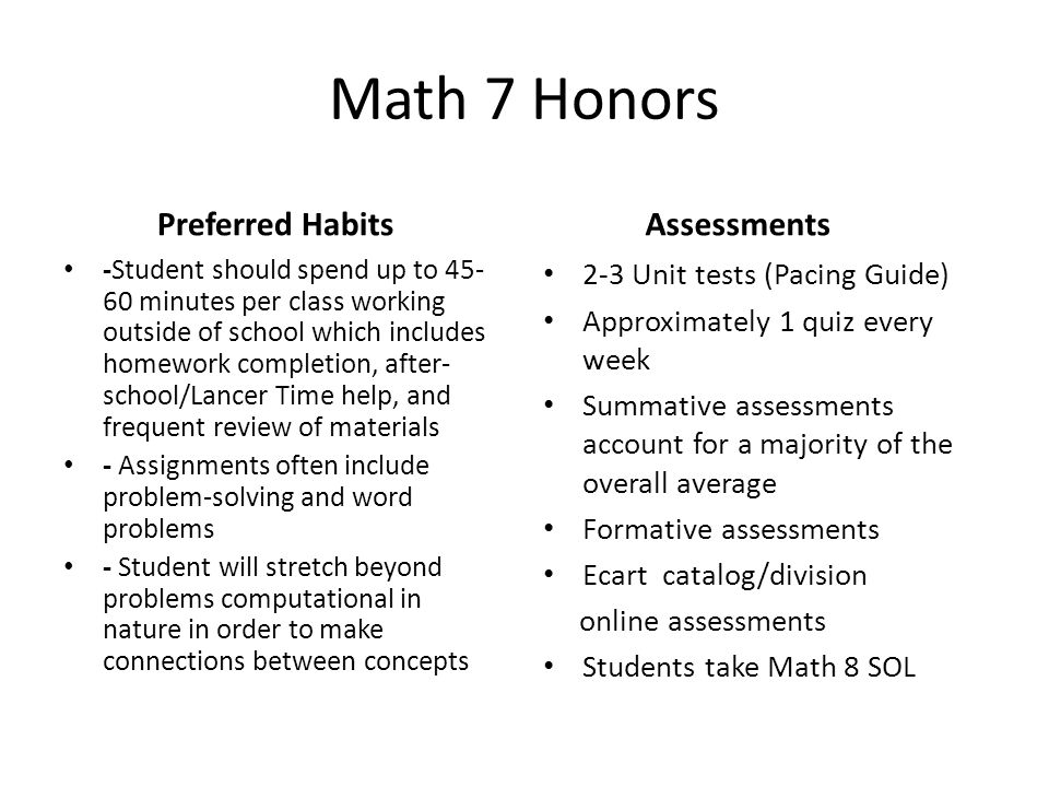 Math 7 Honors Preferred Habits Assessments