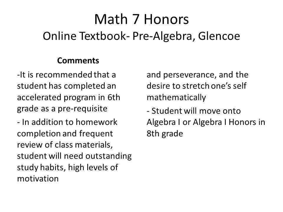 Math 7 Honors Online Textbook- Pre-Algebra, Glencoe