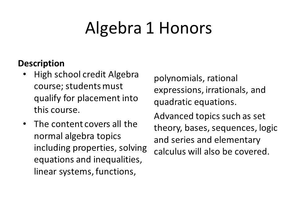 Algebra 1 Honors Description