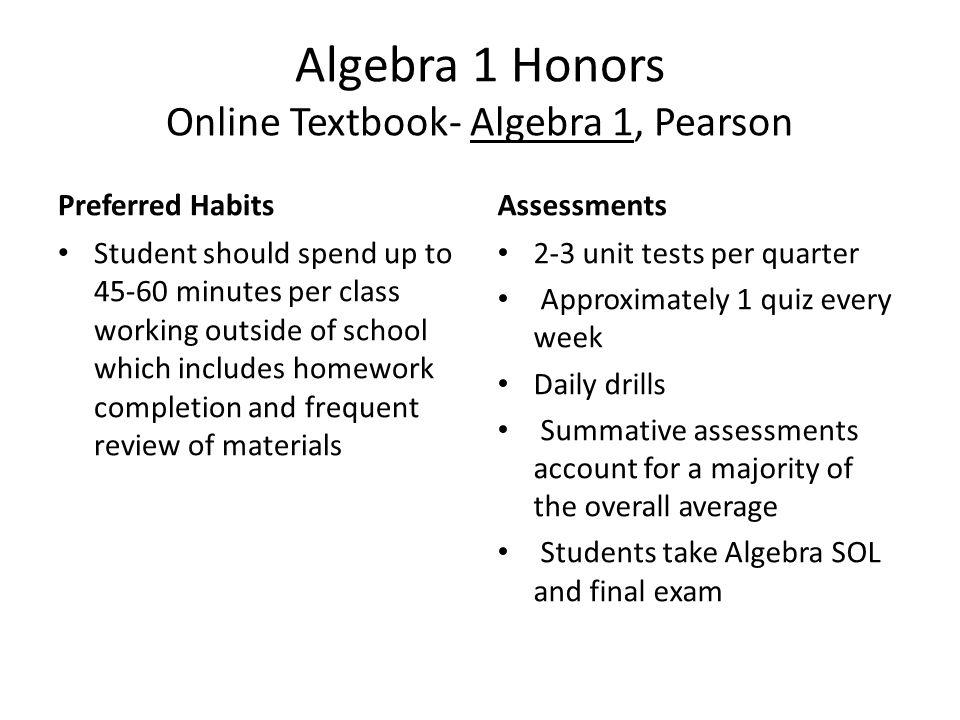 Algebra 1 Honors Online Textbook- Algebra 1, Pearson