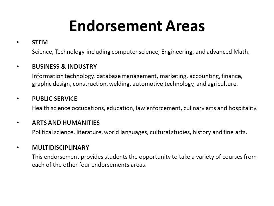 Endorsement Areas STEM BUSINESS & INDUSTRY PUBLIC SERVICE