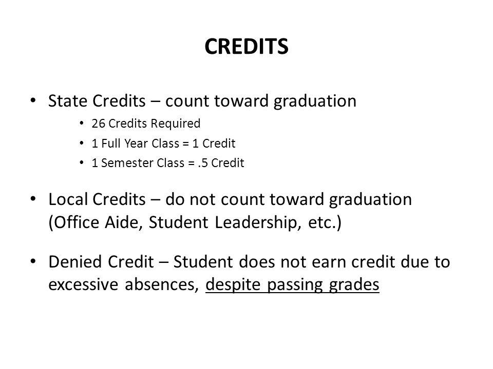 CREDITS State Credits – count toward graduation