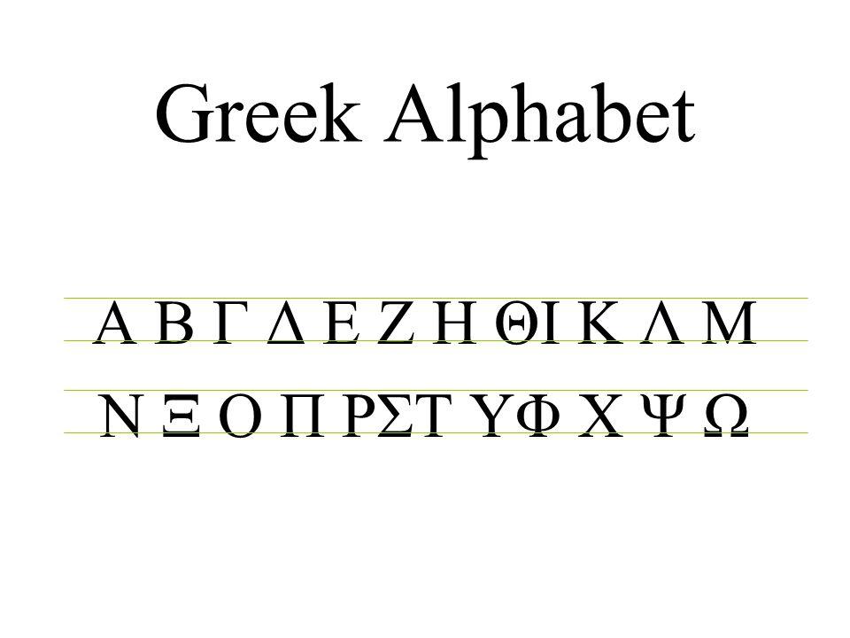 Greek Alphabet Α Β Γ Δ Ε Ζ Η ΘΙ Κ Λ Μ Ν Ξ Ο Π ΡΣΤ ΥΦ Χ Ψ Ω