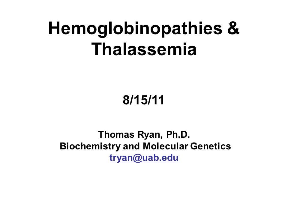 Hemoglobinopathies & Thalassemia 8/15/11 Thomas Ryan, Ph. D