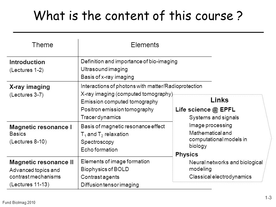 What is the content of this course