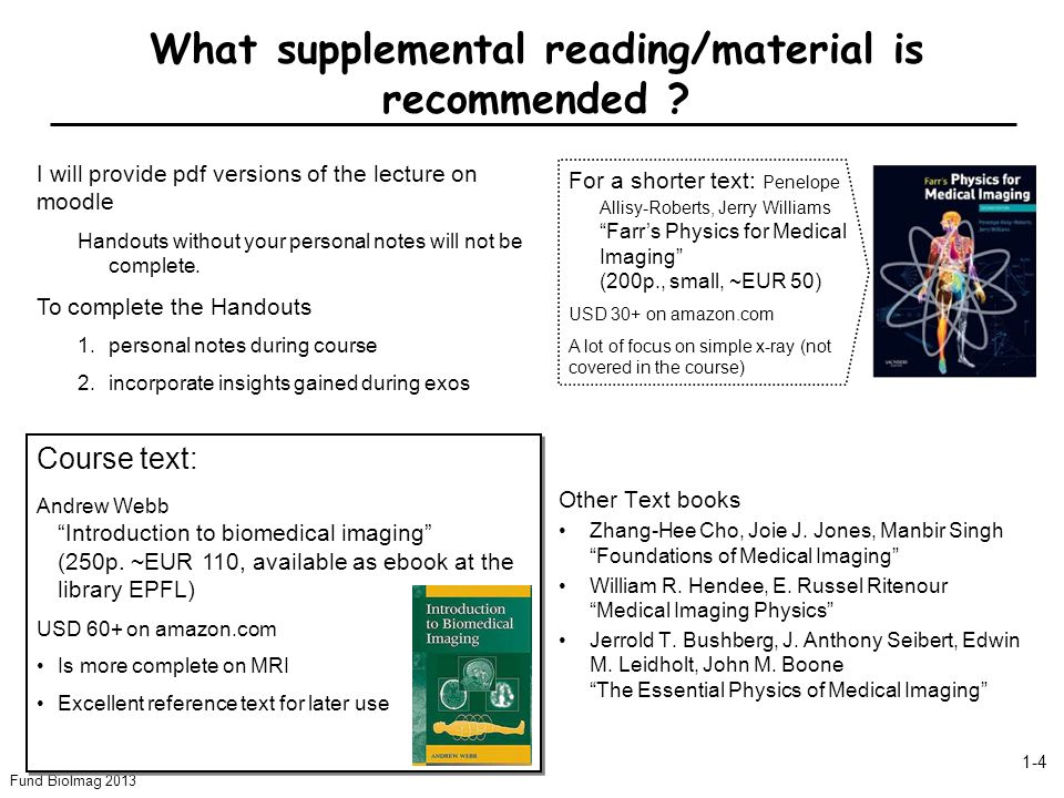 What supplemental reading/material is recommended