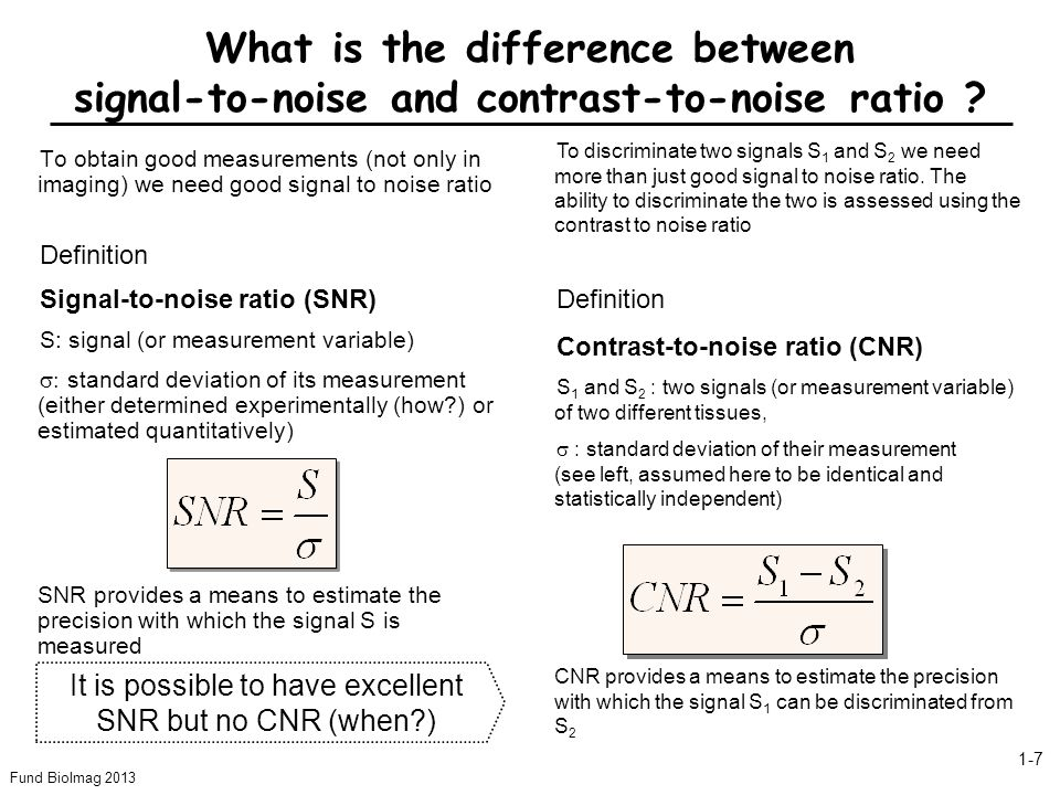It is possible to have excellent SNR but no CNR (when )