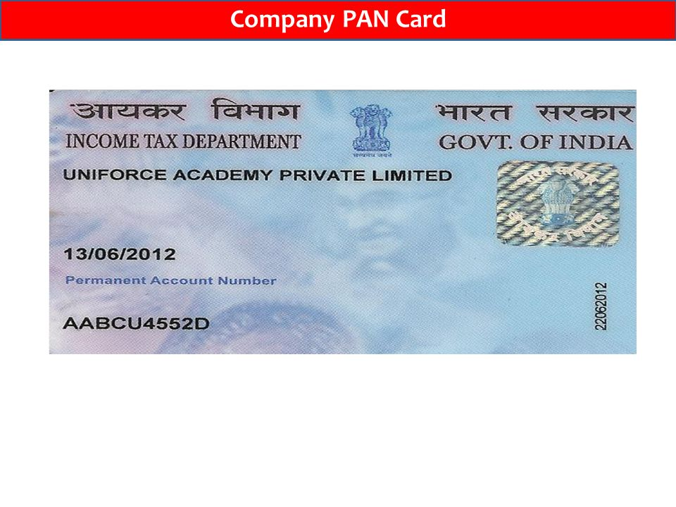 Company PAN Card
