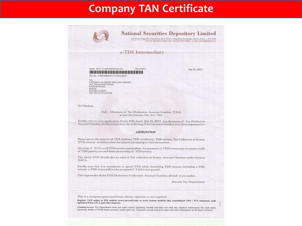 Company TAN Certificate