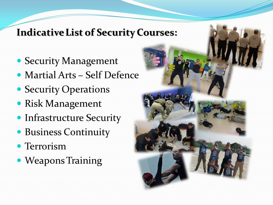 Indicative List of Security Courses: