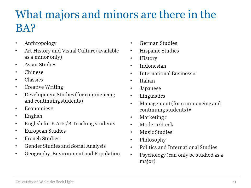 What majors and minors are there in the BA