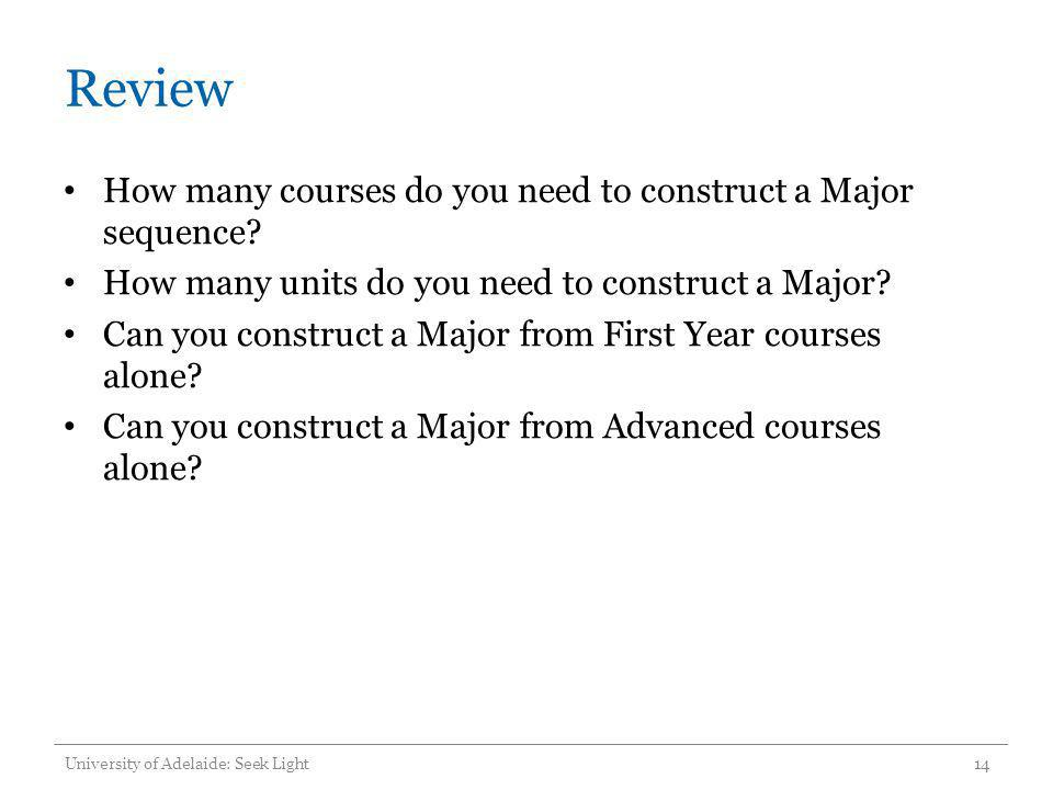 Review How many courses do you need to construct a Major sequence