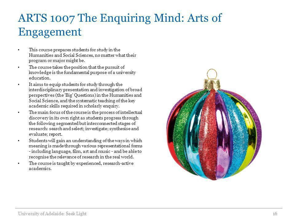 ARTS 1007 The Enquiring Mind: Arts of Engagement