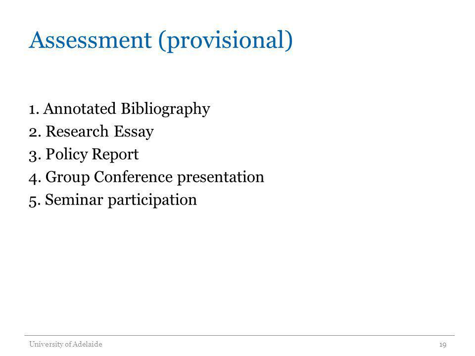 Assessment (provisional)