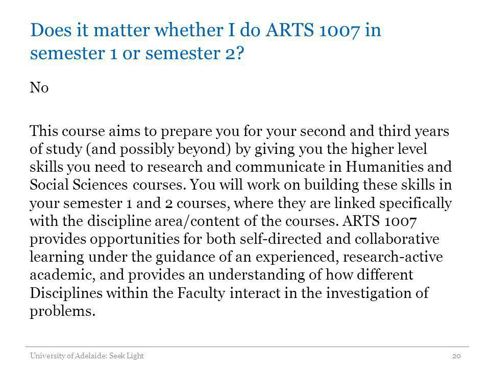 Does it matter whether I do ARTS 1007 in semester 1 or semester 2