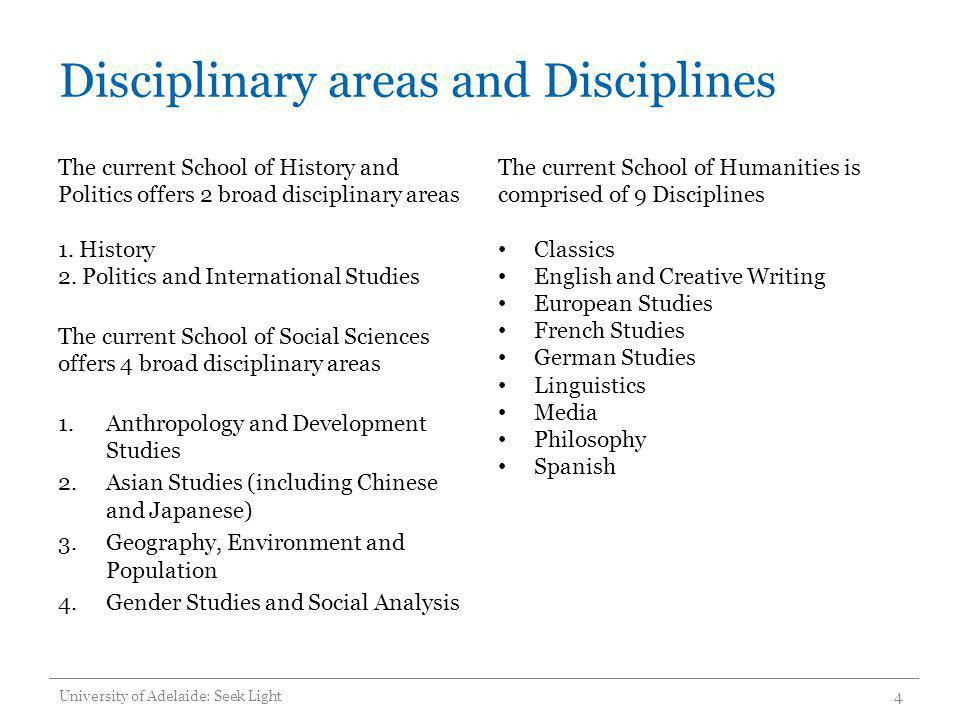 Disciplinary areas and Disciplines