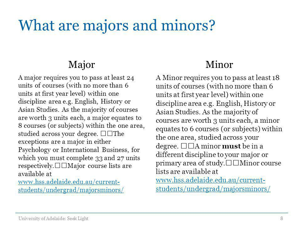 What are majors and minors