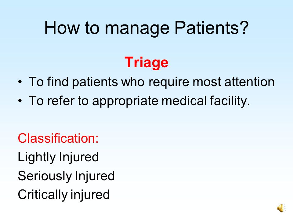 How to manage Patients Triage