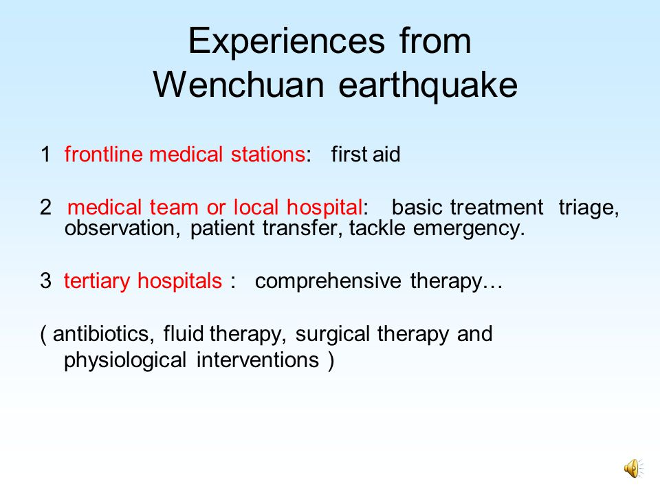 Experiences from Wenchuan earthquake