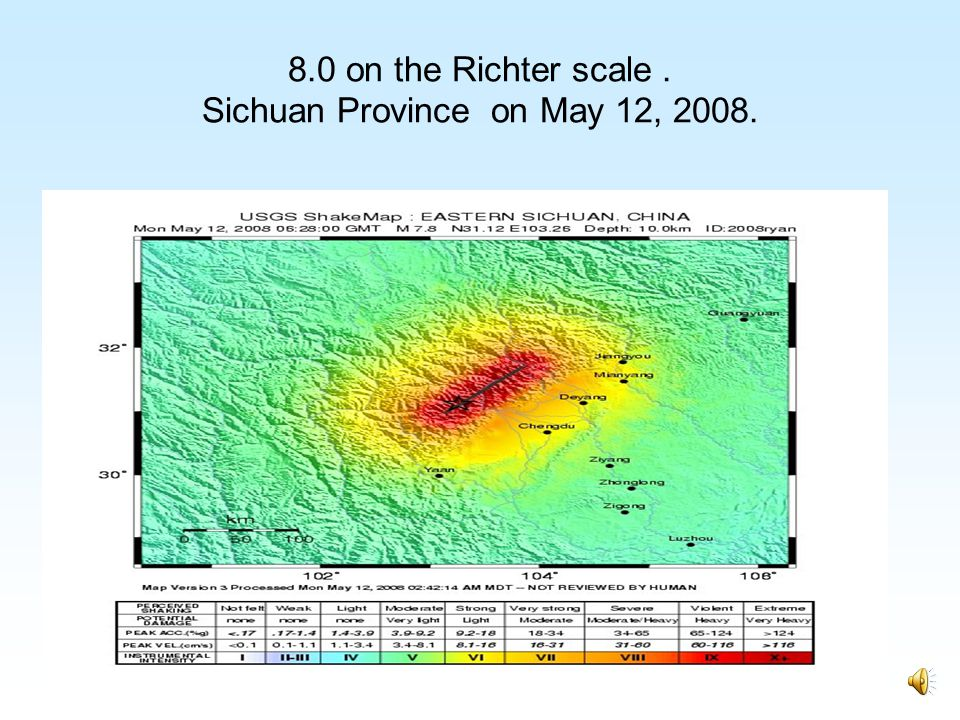 8.0 on the Richter scale . Sichuan Province on May 12, 2008.