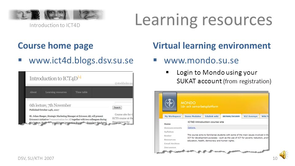 Learning resources Course home page Virtual learning environment