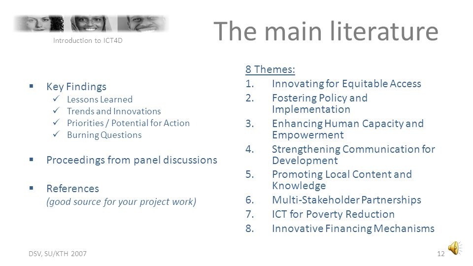 The main literature 8 Themes: Innovating for Equitable Access