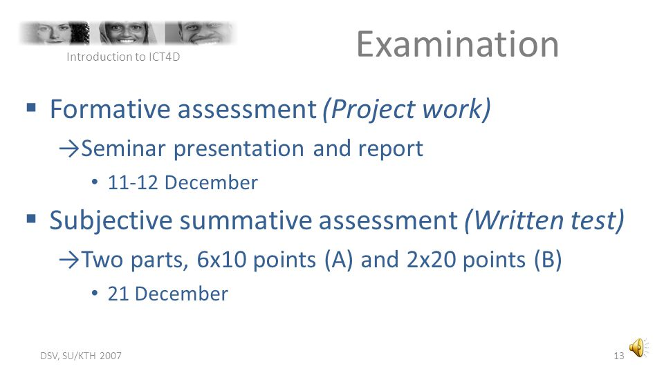Examination Formative assessment (Project work)