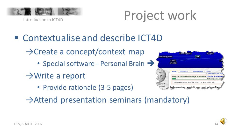 Project work Contextualise and describe ICT4D