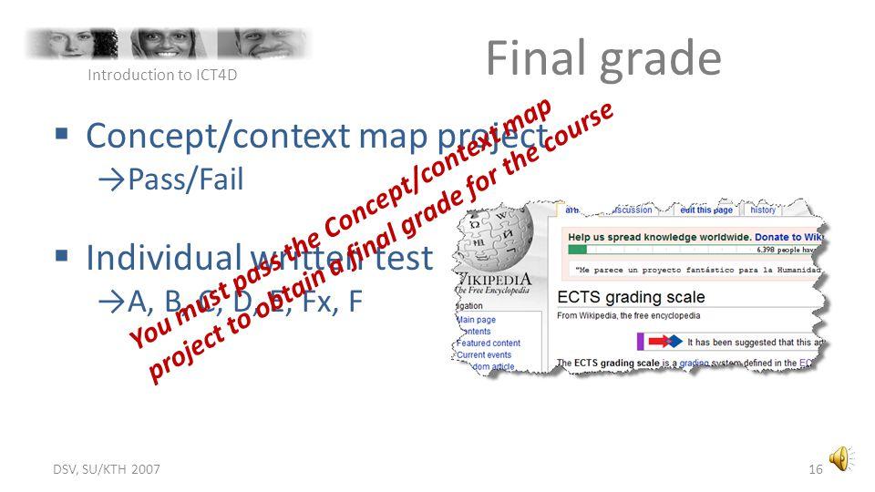 Final grade Concept/context map project Individual written test