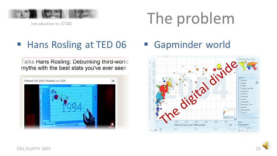 The problem The digital divide Hans Rosling at TED 06 Gapminder world