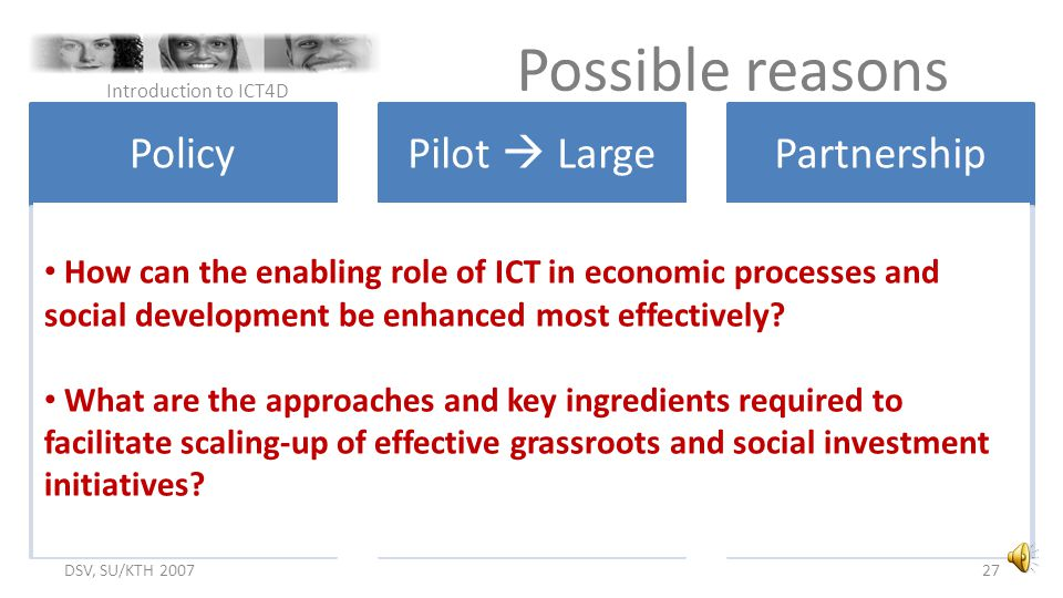 Possible reasons Policy Pilot  Large Partnership