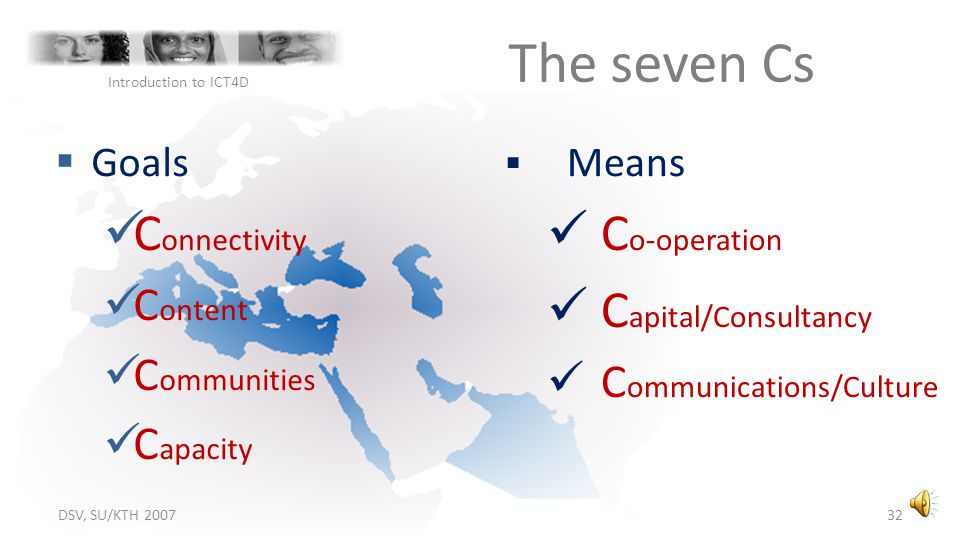 The seven Cs Connectivity Co-operation Capital/Consultancy Content