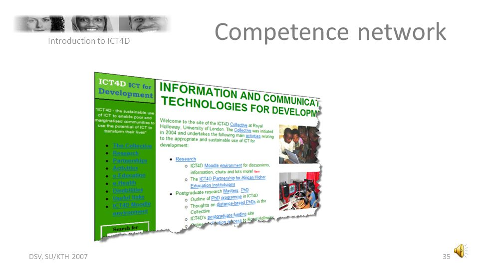 Competence network Introduction to ICT4D DSV, SU/KTH 2007