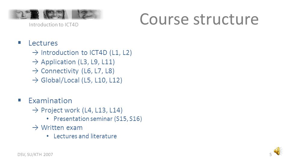Course structure Lectures Examination Introduction to ICT4D (L1, L2)