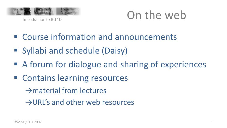 On the web Course information and announcements