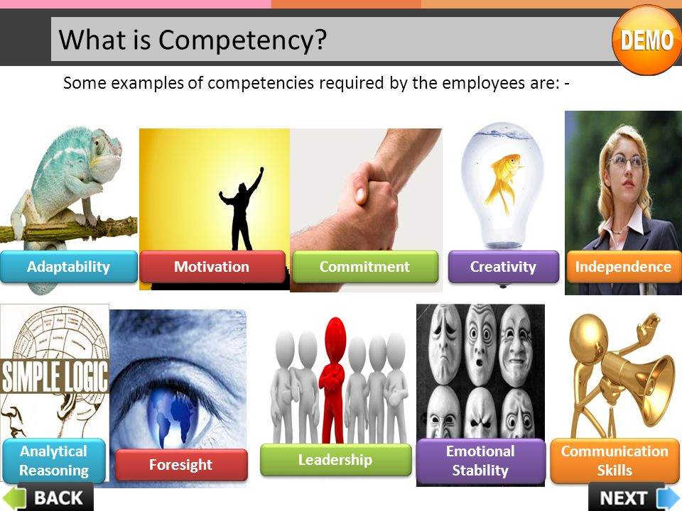 What is Competency Some examples of competencies required by the employees are: - Adaptability. Motivation.