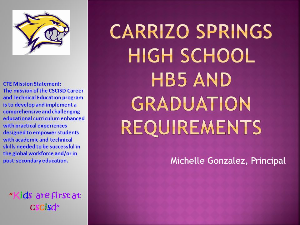 Carrizo Springs High school HB5 and Graduation Requirements