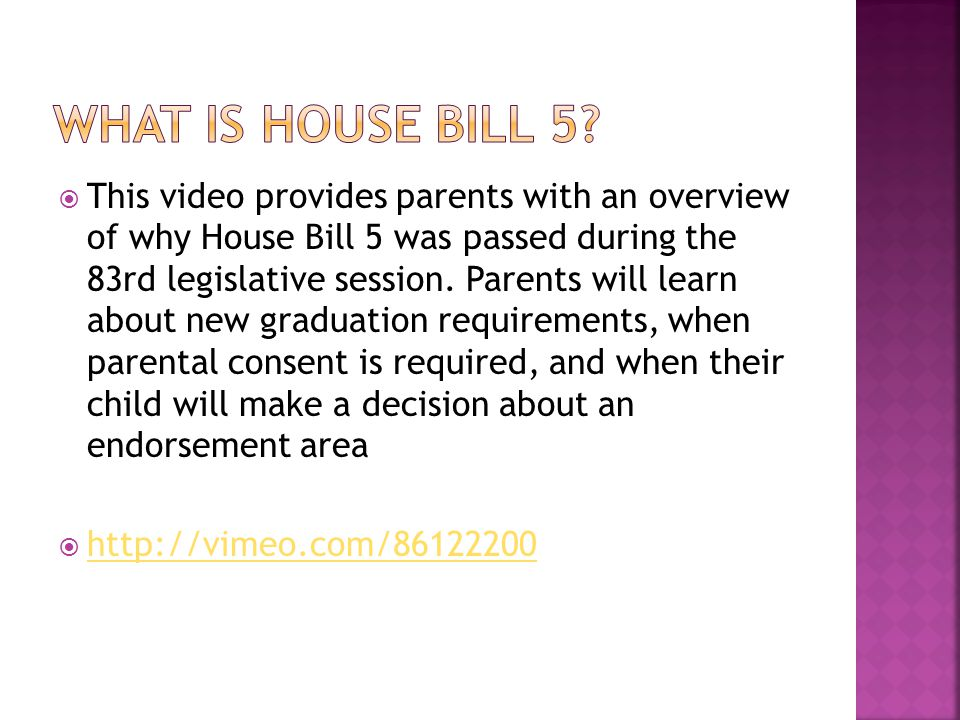 What is house bill 5